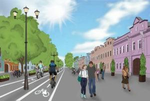 Рисунок 1. Эскиз проекта велозоны на пешеходной Школьной улице. Автор рисунка: Кремнева Софья.