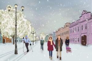 Рисунок 2. Эскиз проекта лыжной зоны на пешеходной Школьной улице. Автор рисунка: Кремнева Софья.